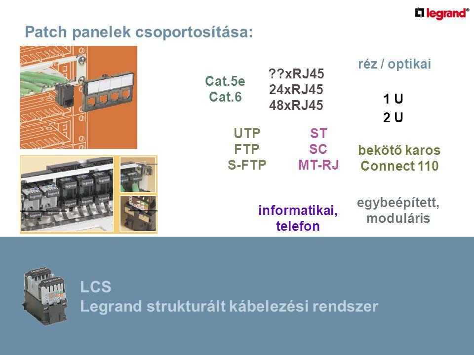 Patch panelek csoportosítása: