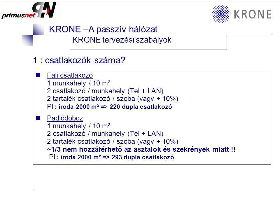 1 : csatlakozók száma KRONE tervezési szabályok