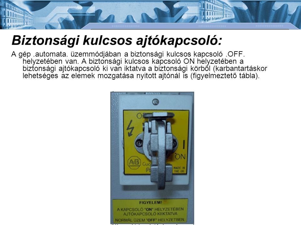 Biztonsági kulcsos ajtókapcsoló: