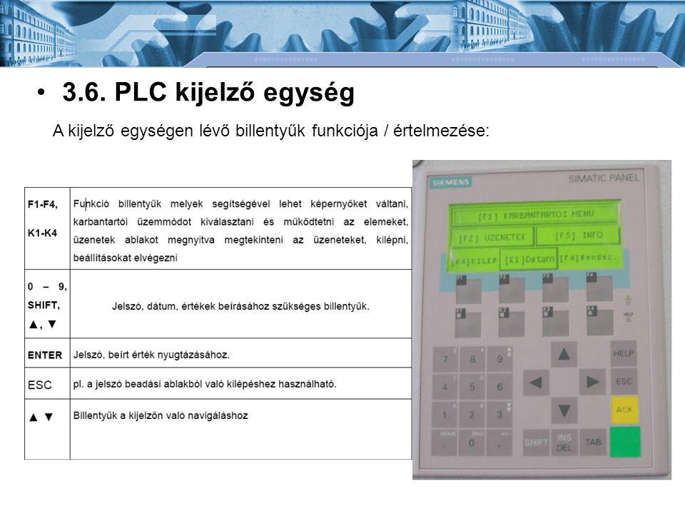 3.6. PLC kijelző egység A kijelző egységen lévő billentyűk funkciója / értelmezése: