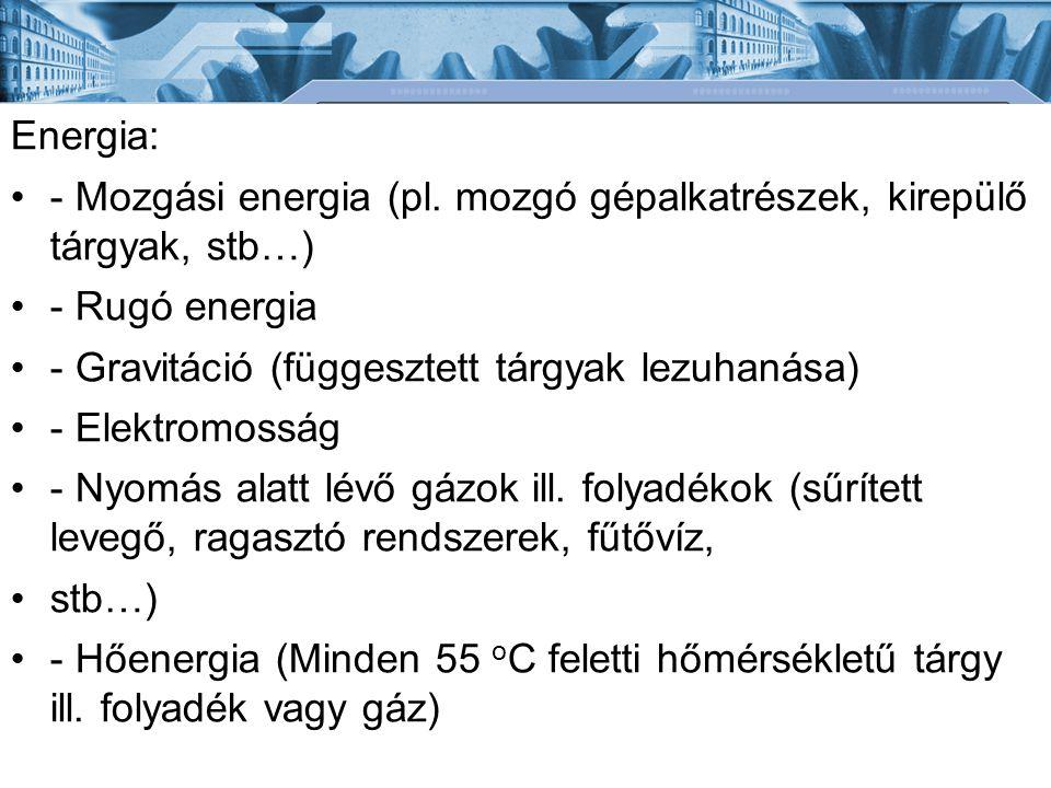 Energia: - Mozgási energia (pl. mozgó gépalkatrészek, kirepülő tárgyak, stb…) - Rugó energia. - Gravitáció (függesztett tárgyak lezuhanása)