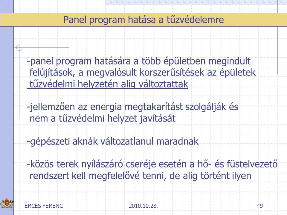 Panel program hatása a tűzvédelemre