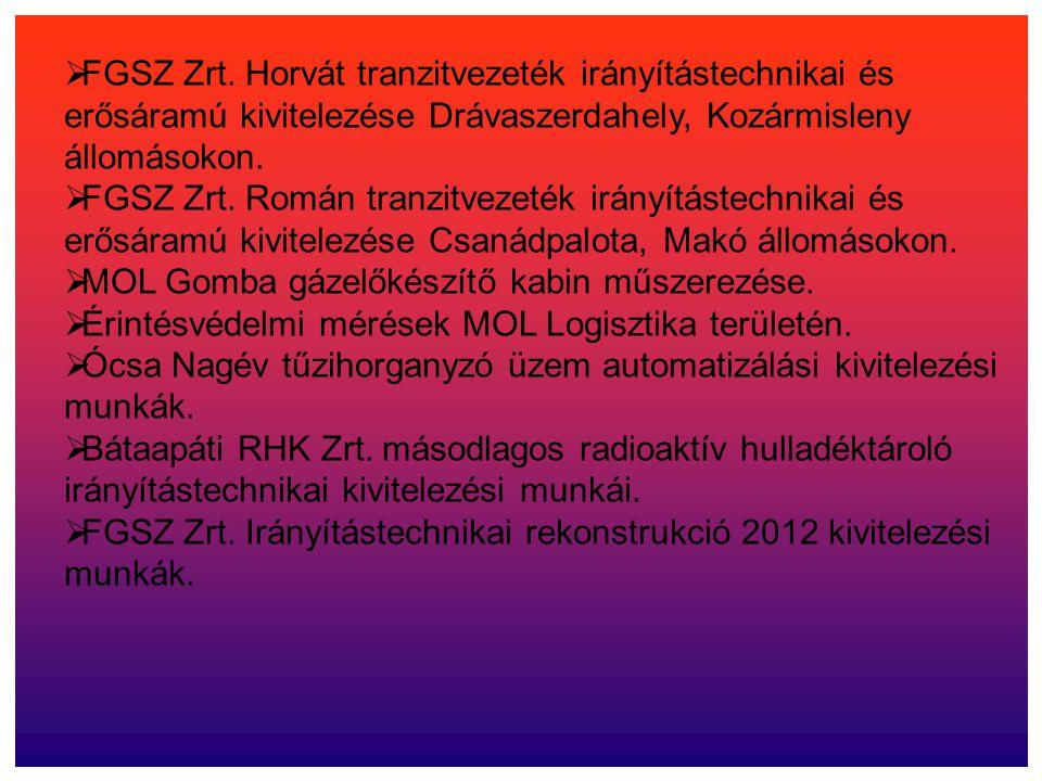 FGSZ Zrt. Horvát tranzitvezeték irányítástechnikai és erősáramú kivitelezése Drávaszerdahely, Kozármisleny állomásokon.