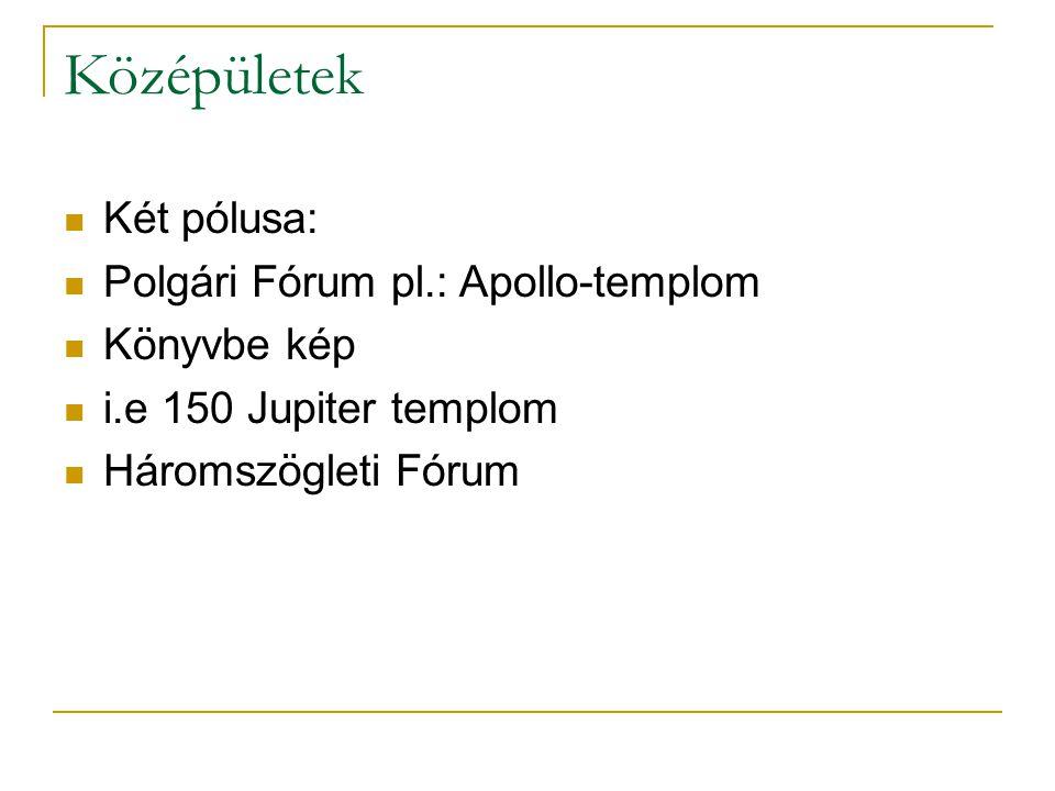 Középületek Két pólusa: Polgári Fórum pl.: Apollo-templom Könyvbe kép