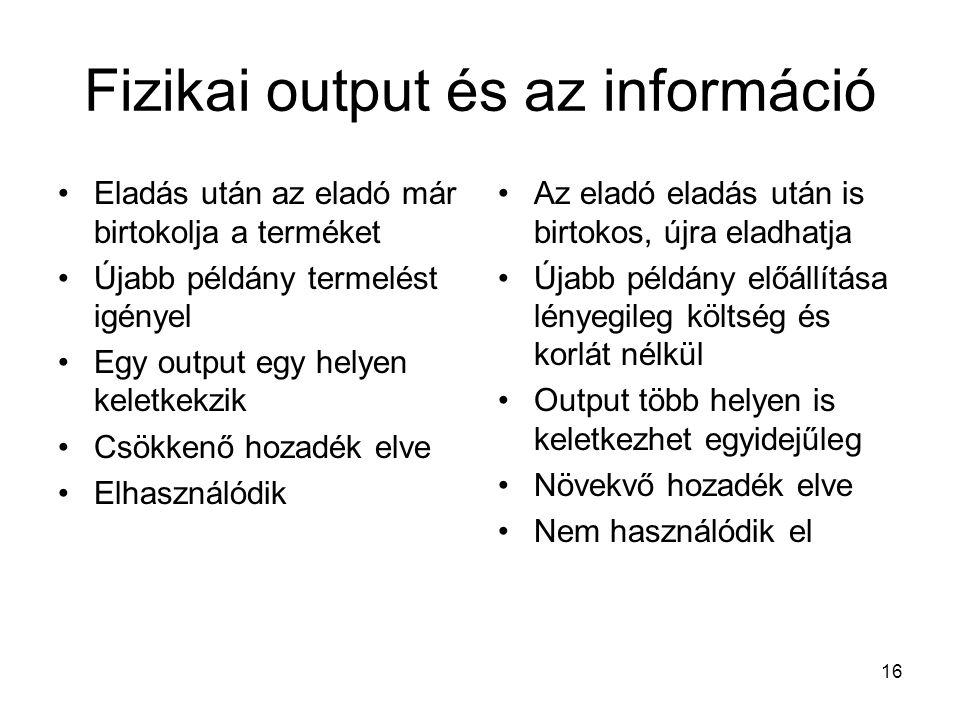 Fizikai output és az információ
