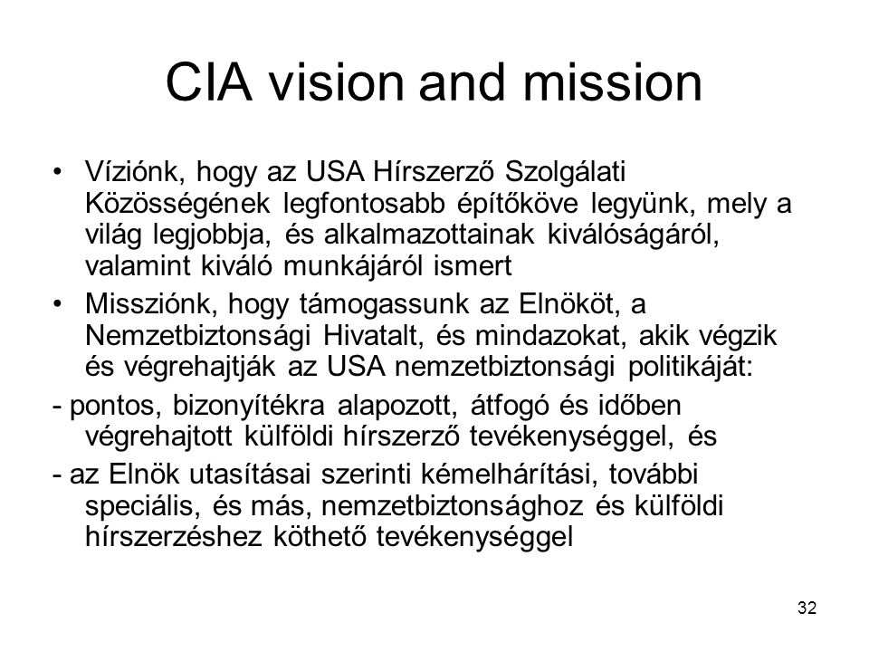 CIA vision and mission