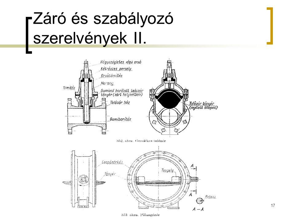 Záró és szabályozó szerelvények II.