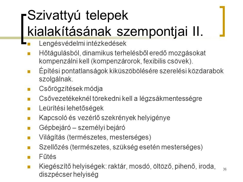 Szivattyú telepek kialakításának szempontjai II.