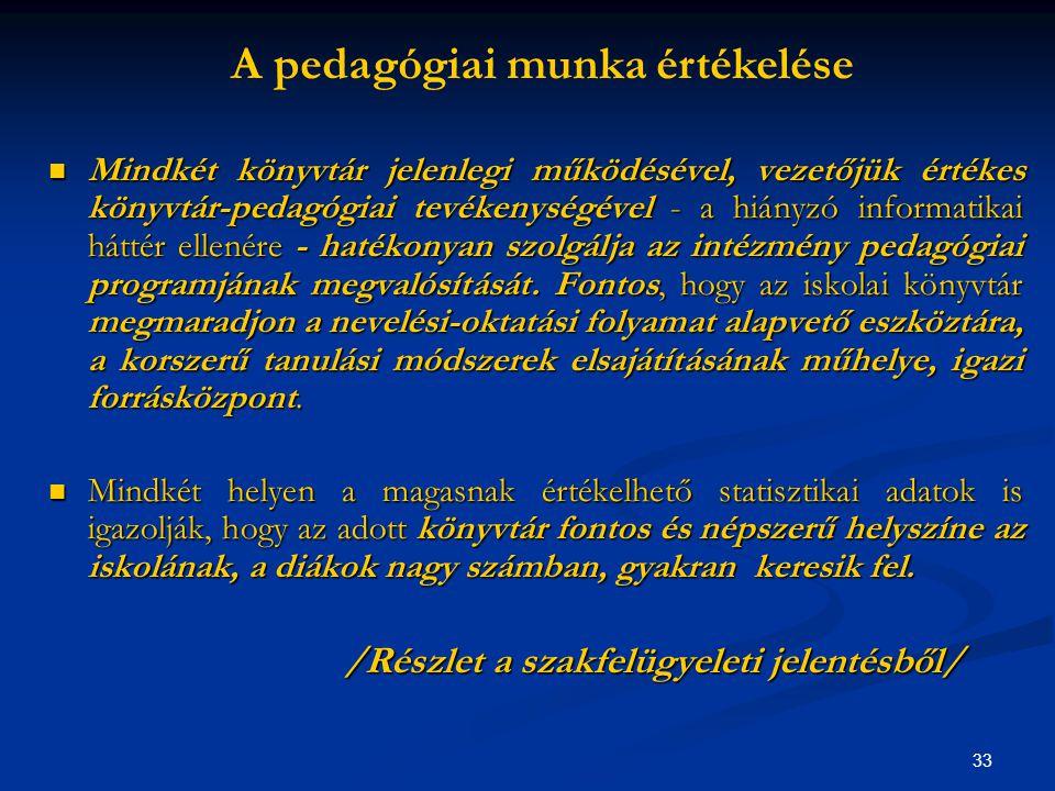 A pedagógiai munka értékelése