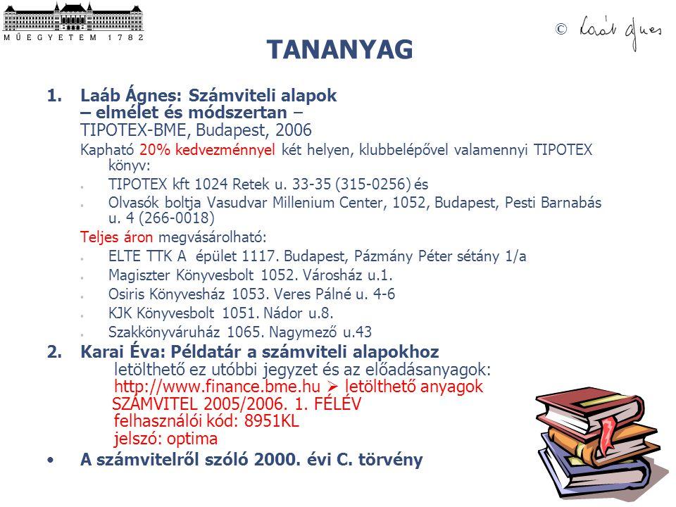 TANANYAG Laáb Ágnes: Számviteli alapok – elmélet és módszertan – TIPOTEX-BME, Budapest, 2006.