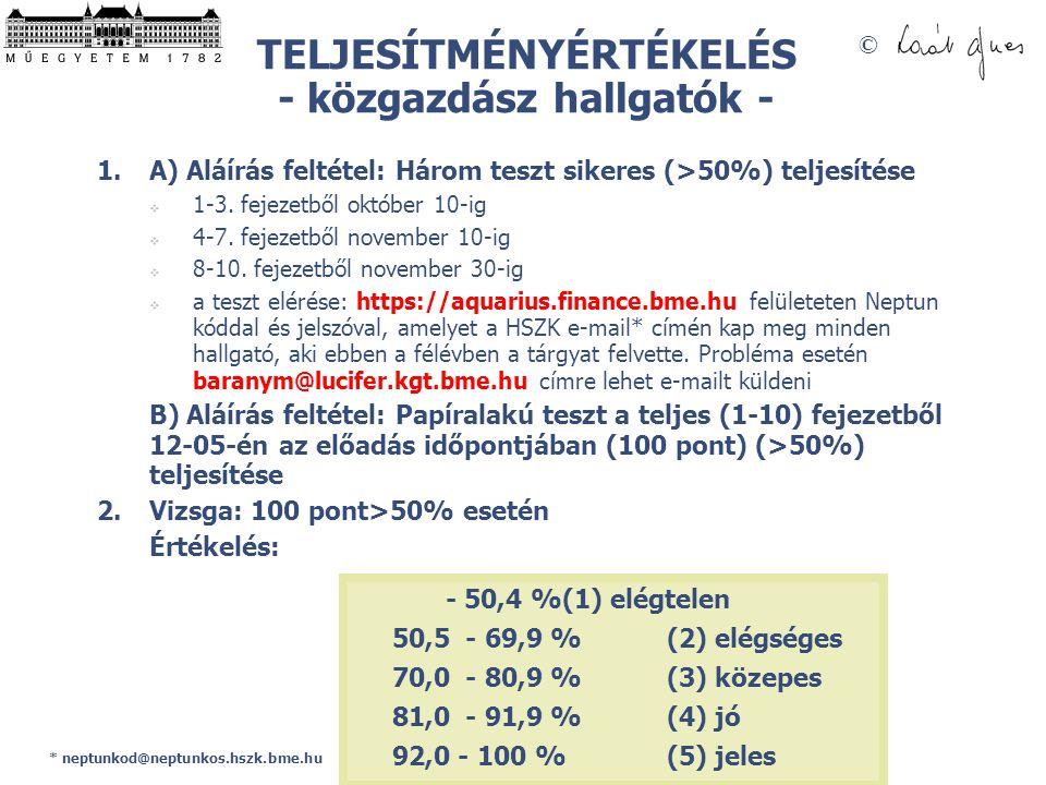 TELJESÍTMÉNYÉRTÉKELÉS - közgazdász hallgatók -