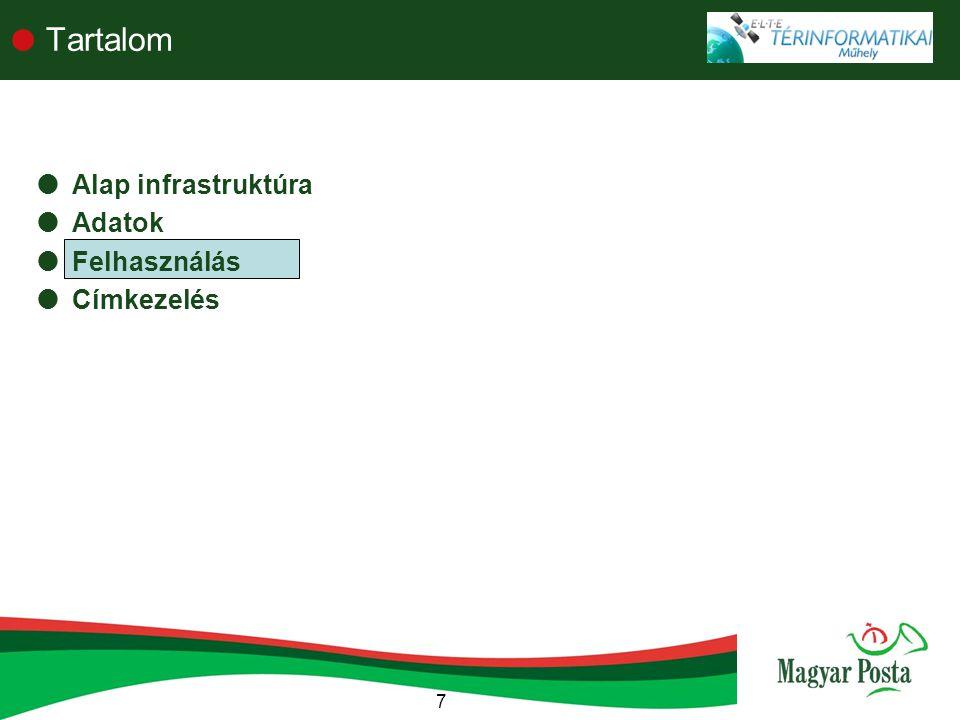 Tartalom Alap infrastruktúra Adatok Felhasználás Címkezelés 7 7