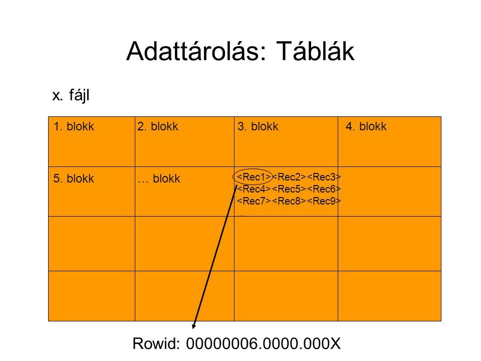 Adattárolás: Táblák x. fájl Rowid: 00000006.0000.000X 1. blokk