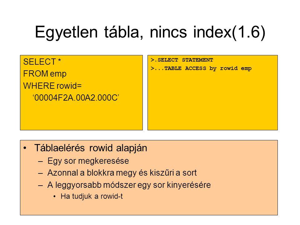 Egyetlen tábla, nincs index(1.6)