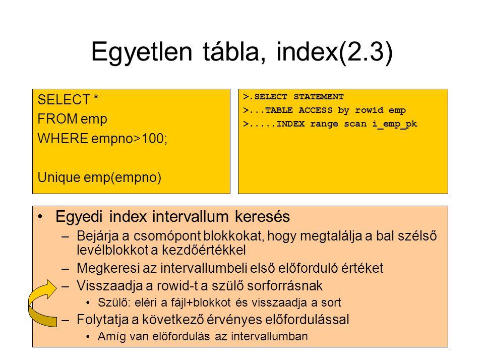 Egyetlen tábla, index(2.3)