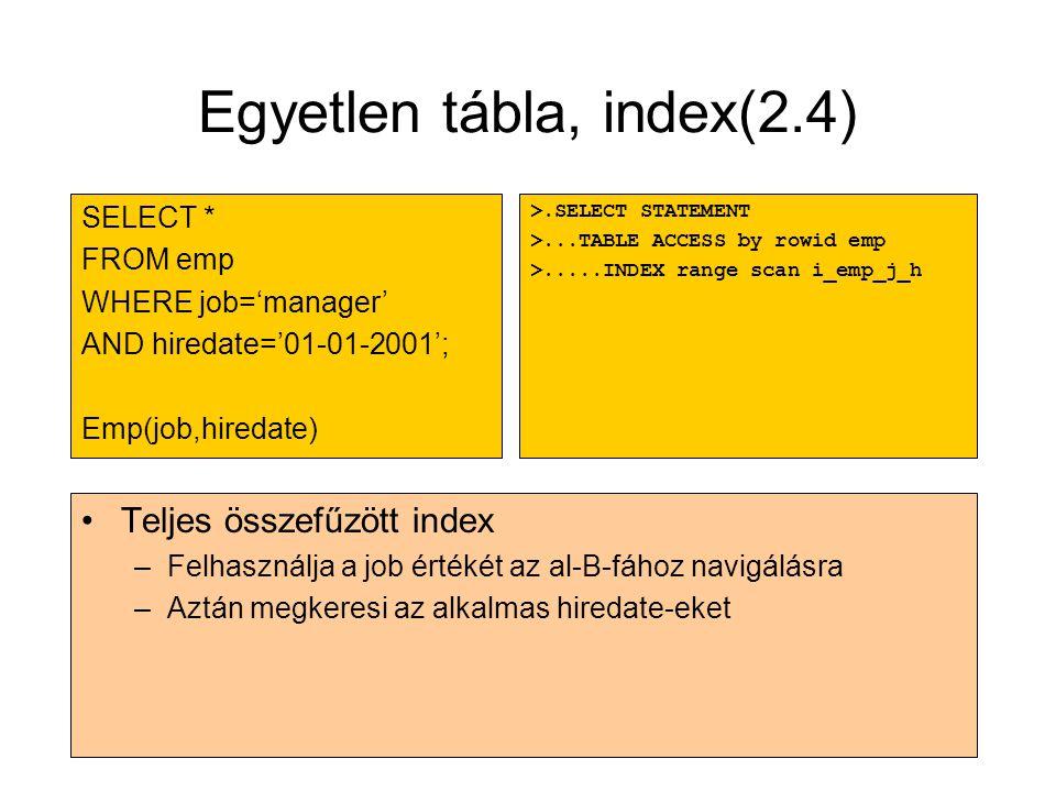 Egyetlen tábla, index(2.4)