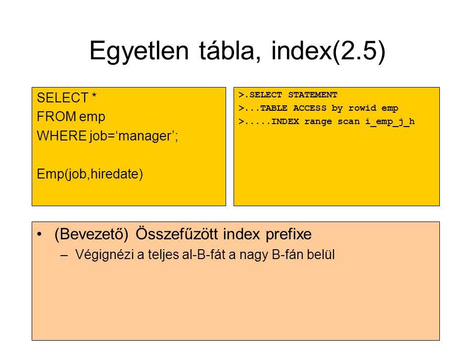 Egyetlen tábla, index(2.5)