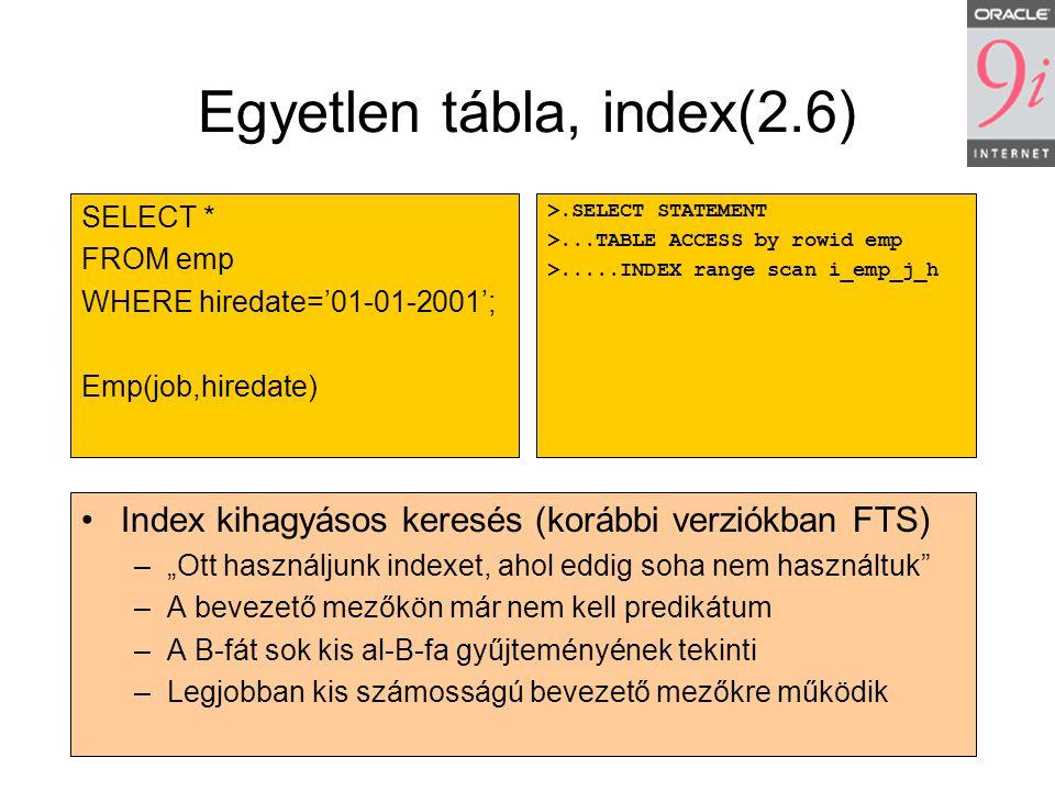 Egyetlen tábla, index(2.6)