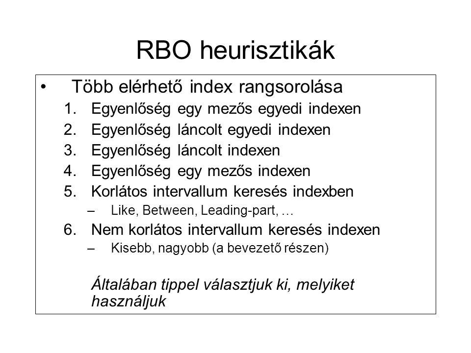 RBO heurisztikák Több elérhető index rangsorolása
