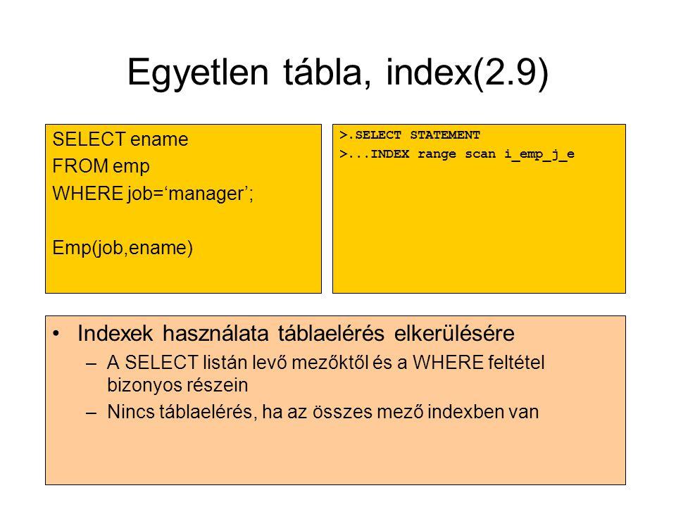 Egyetlen tábla, index(2.9)
