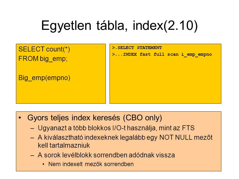 Egyetlen tábla, index(2.10)