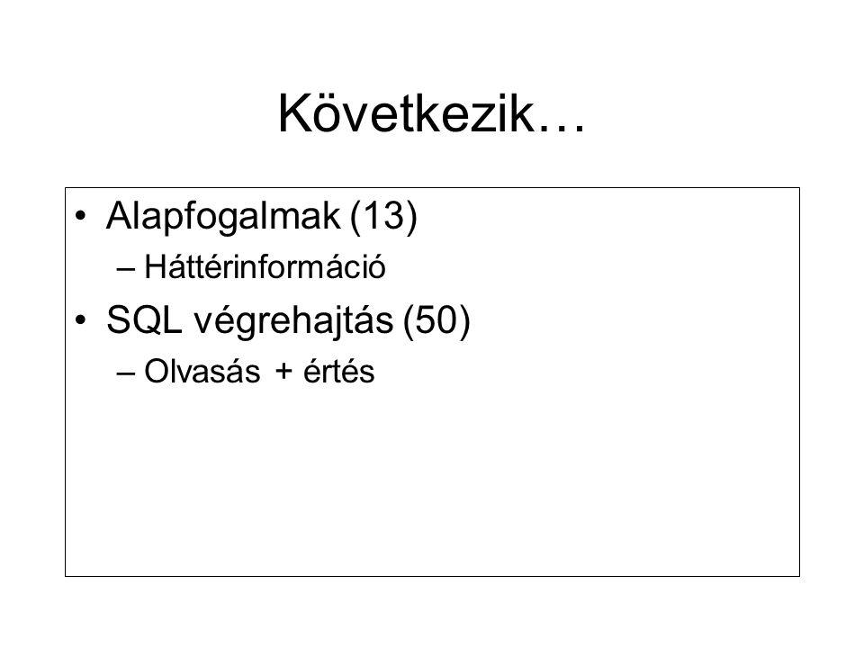 Következik… Alapfogalmak (13) SQL végrehajtás (50) Háttérinformáció
