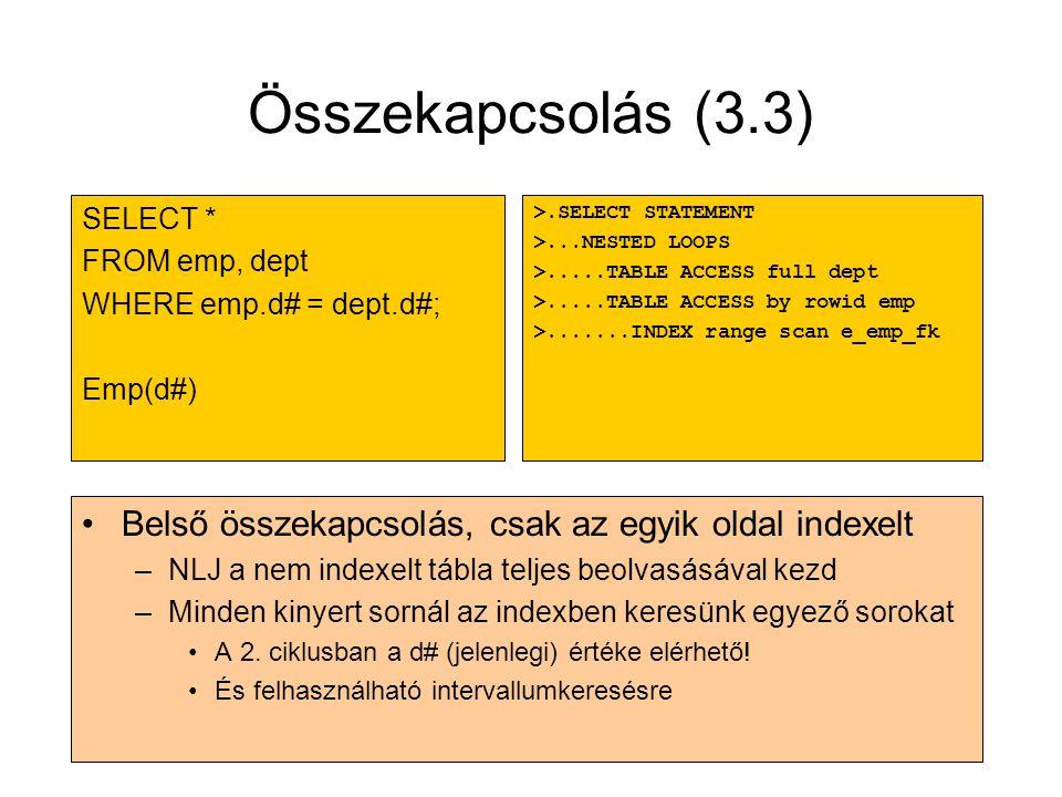 Összekapcsolás (3.3) SELECT * FROM emp, dept. WHERE emp.d# = dept.d#; Emp(d#) >.SELECT STATEMENT.
