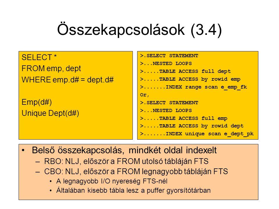 Összekapcsolások (3.4) Belső összekapcsolás, mindkét oldal indexelt