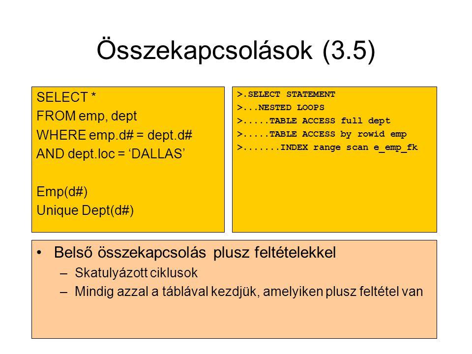 Összekapcsolások (3.5) Belső összekapcsolás plusz feltételekkel
