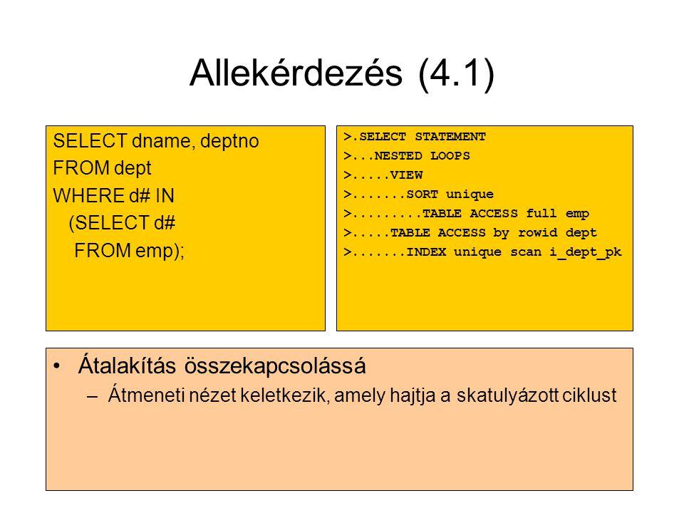 Allekérdezés (4.1) Átalakítás összekapcsolássá SELECT dname, deptno