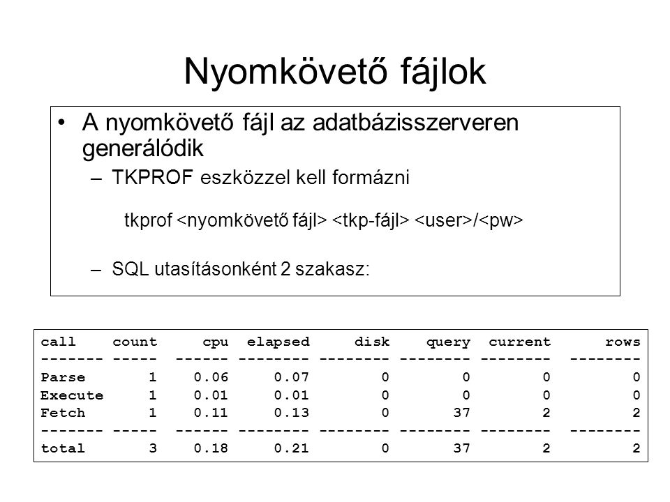 Nyomkövető fájlok A nyomkövető fájl az adatbázisszerveren generálódik