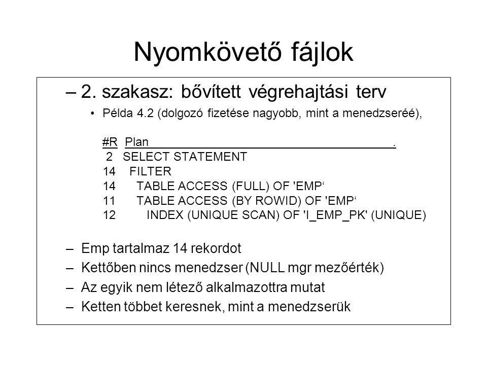 Nyomkövető fájlok 2. szakasz: bővített végrehajtási terv