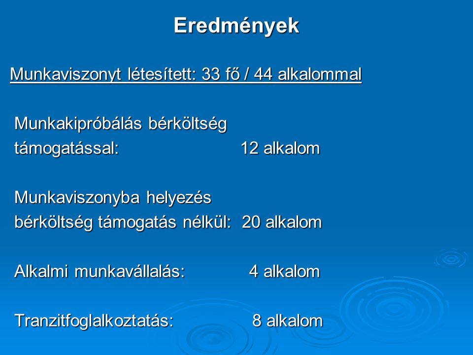 Eredmények Munkaviszonyt létesített: 33 fő / 44 alkalommal