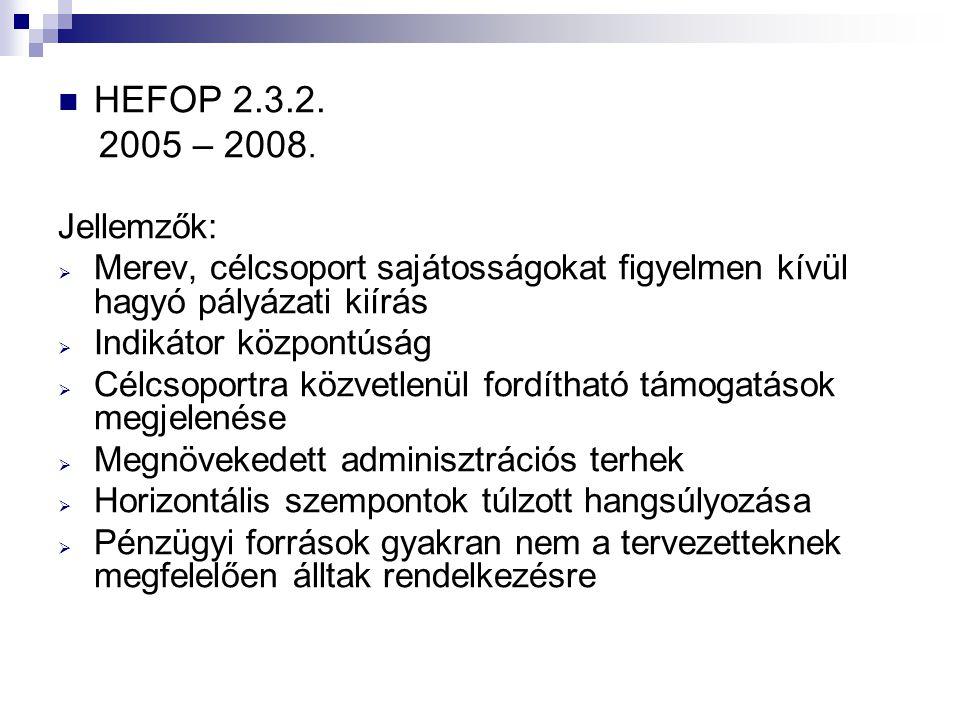 HEFOP 2.3.2. 2005 – 2008. Jellemzők: Merev, célcsoport sajátosságokat figyelmen kívül hagyó pályázati kiírás.