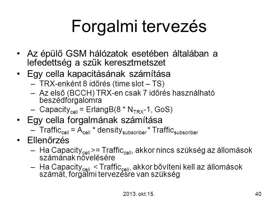 Forgalmi tervezés Az épülő GSM hálózatok esetében általában a lefedettség a szűk keresztmetszet. Egy cella kapacitásának számítása.