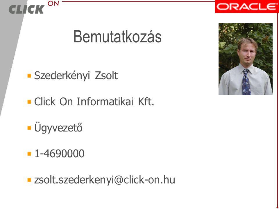Bemutatkozás Szederkényi Zsolt Click On Informatikai Kft. Ügyvezető