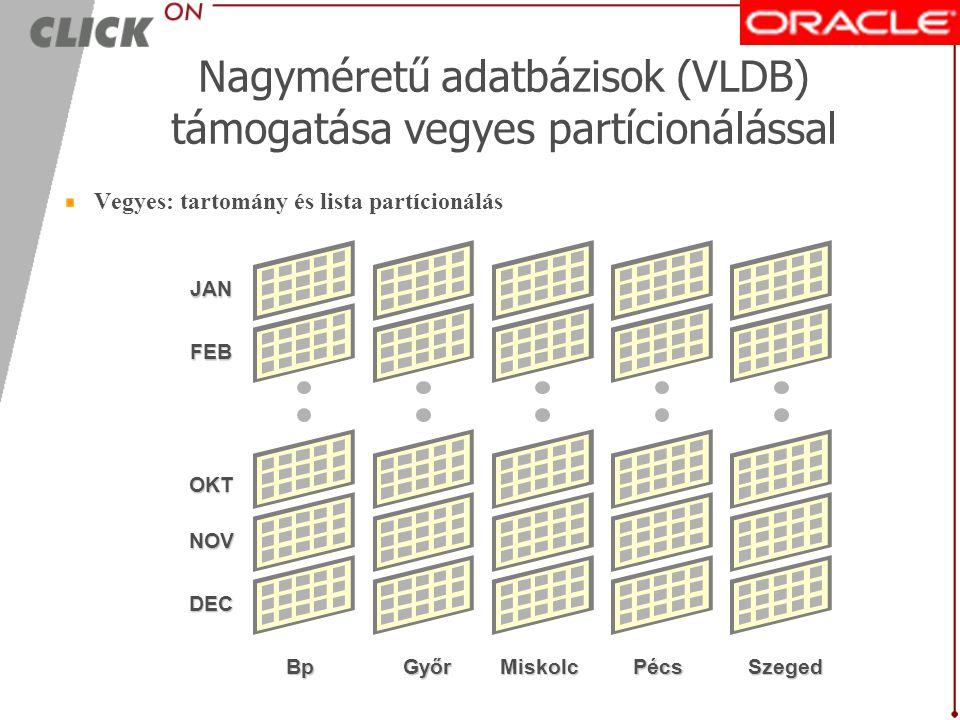 Nagyméretű adatbázisok (VLDB) támogatása vegyes partícionálással