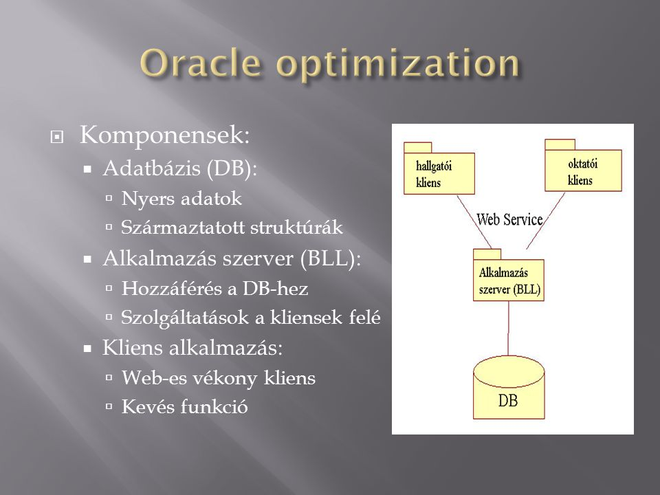 Oracle optimization Komponensek: Adatbázis (DB):