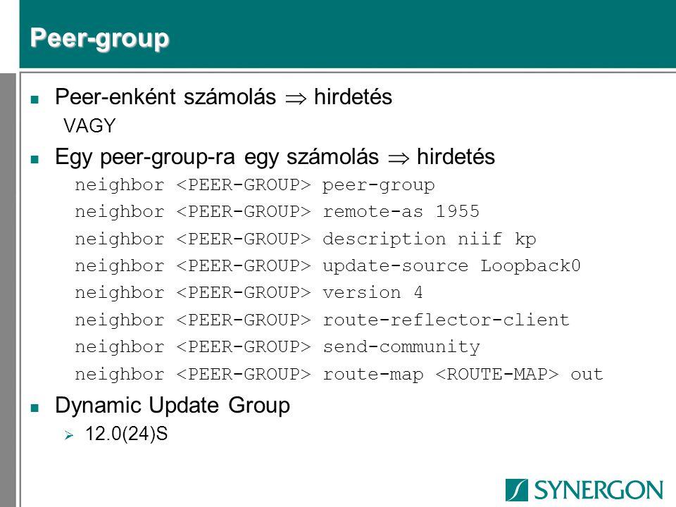 Peer-group Peer-enként számolás  hirdetés
