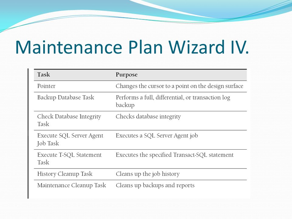 Maintenance Plan Wizard IV.