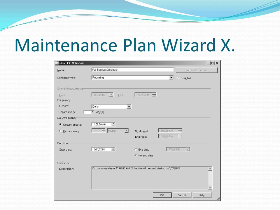 Maintenance Plan Wizard X.