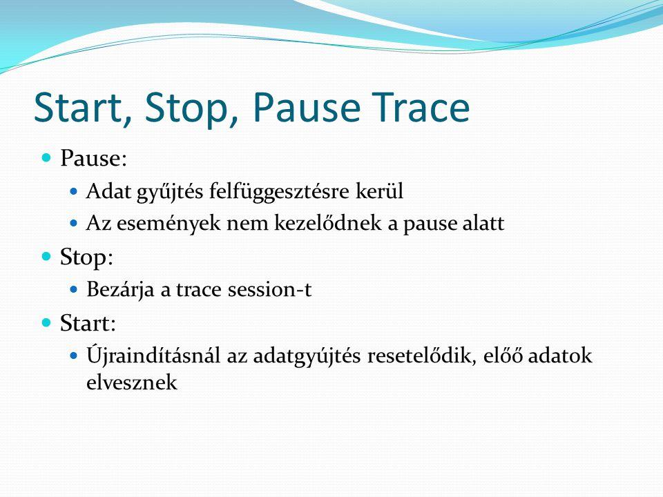 Start, Stop, Pause Trace Pause: Stop: Start: