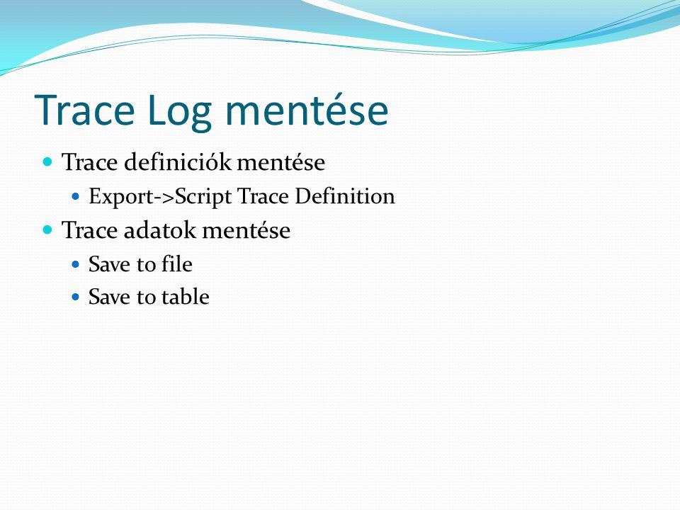 Trace Log mentése Trace definiciók mentése Trace adatok mentése