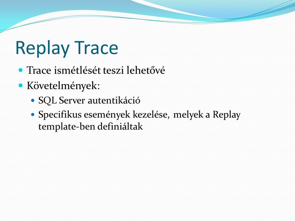 Replay Trace Trace ismétlését teszi lehetővé Követelmények: