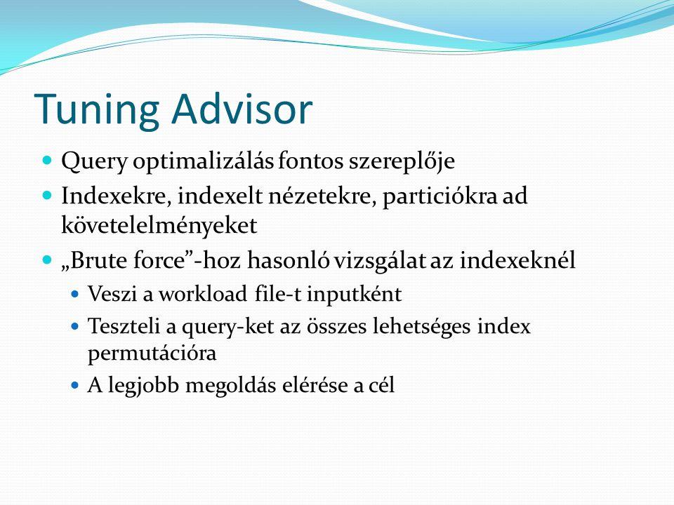Tuning Advisor Query optimalizálás fontos szereplője