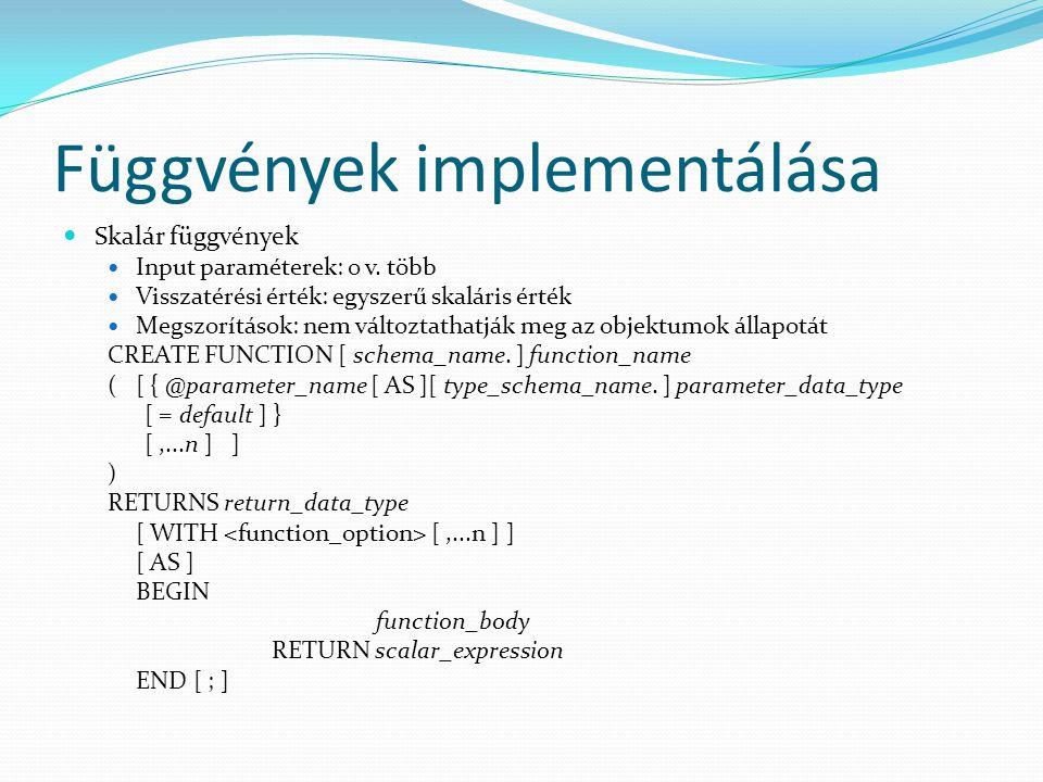 Függvények implementálása