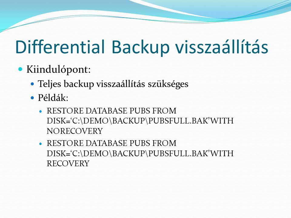 Differential Backup visszaállítás