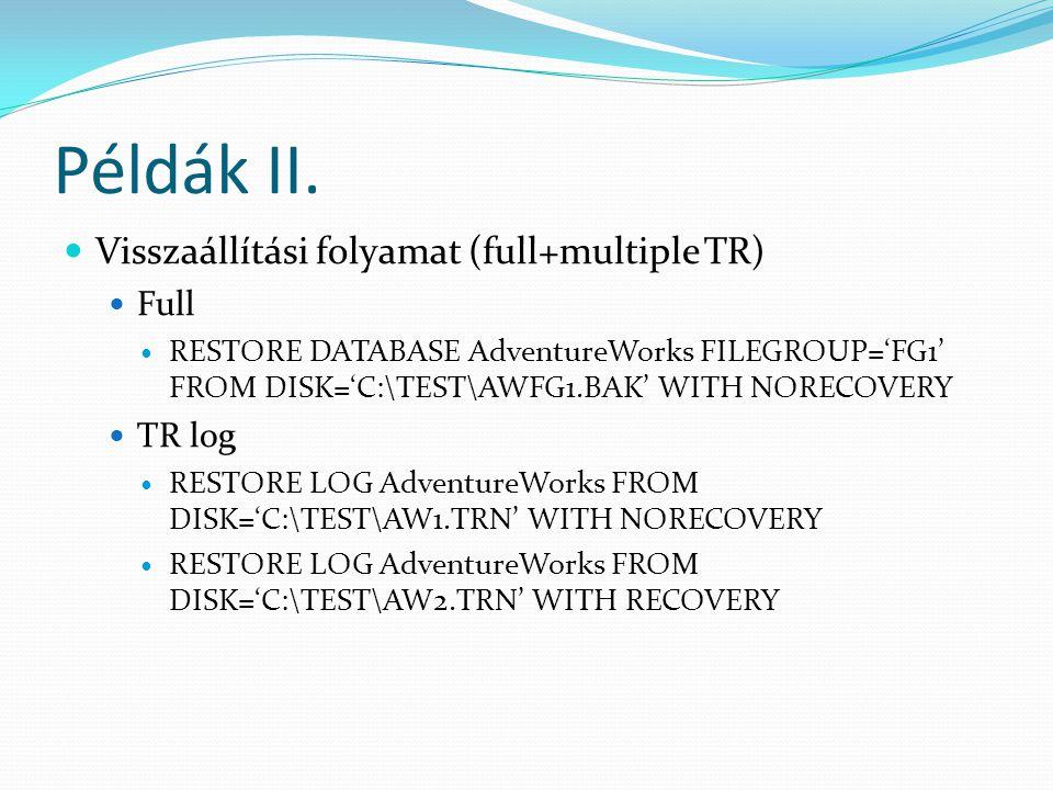 Példák II. Visszaállítási folyamat (full+multiple TR) Full TR log