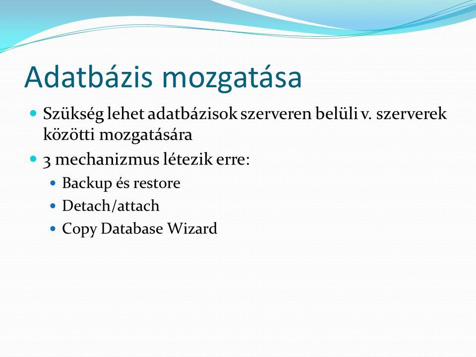 Adatbázis mozgatása Szükség lehet adatbázisok szerveren belüli v. szerverek közötti mozgatására. 3 mechanizmus létezik erre: