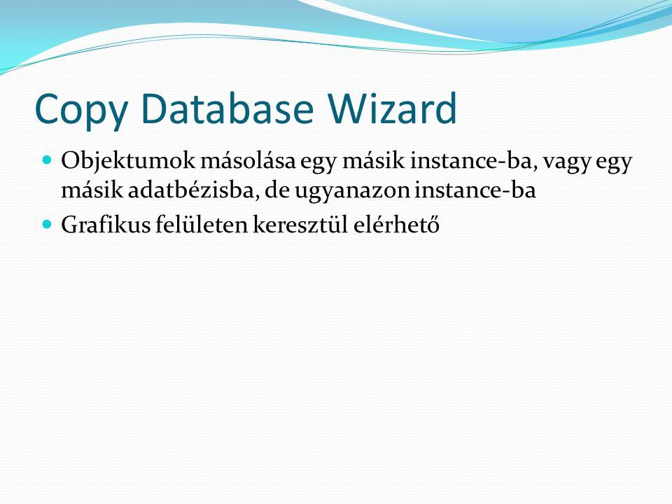 Copy Database Wizard Objektumok másolása egy másik instance-ba, vagy egy másik adatbézisba, de ugyanazon instance-ba.